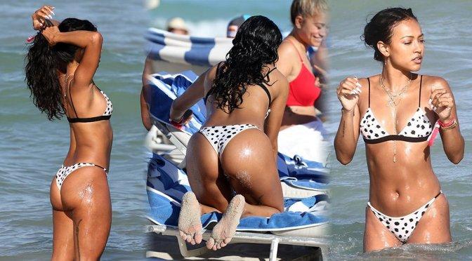 Karrueche Tran – Sexy Ass in a Bikini on the Beach in Miami
