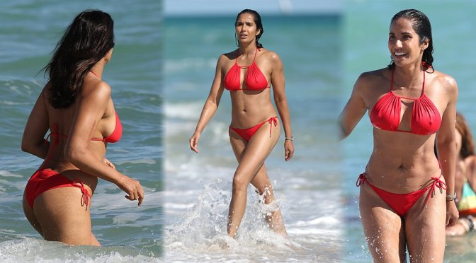 Padma Lakshmi – Sexy Red Bikini Candids in Miami