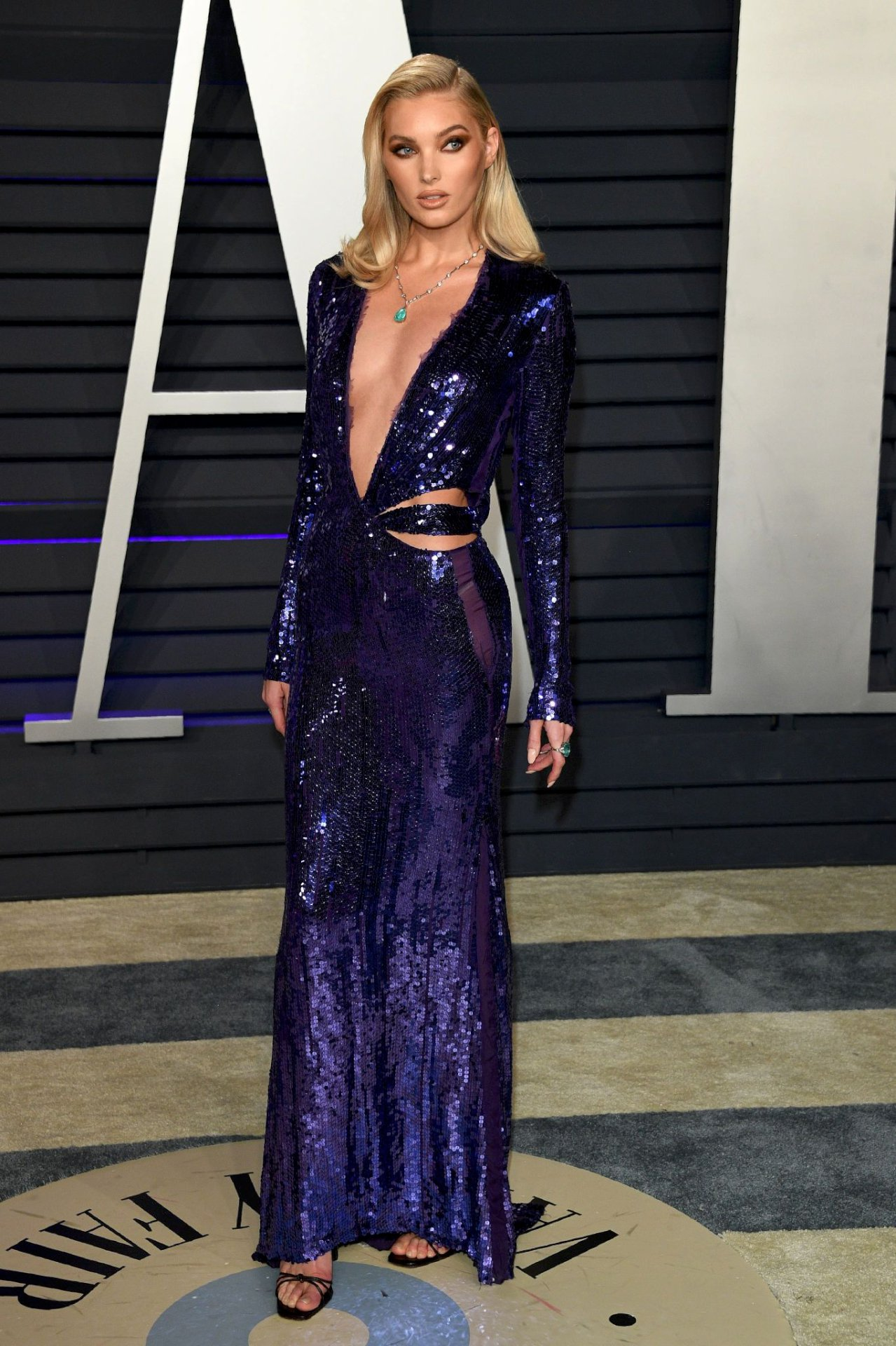Elsa Hosk Sexy Low Cut Blue Dress