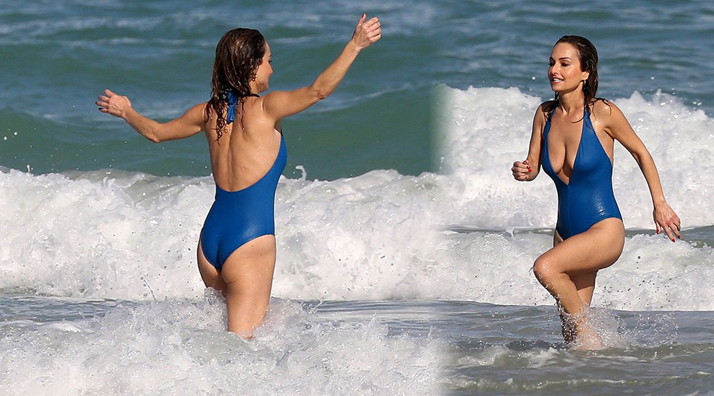 Giada De Laurentiis - Swimsuit Candids at a Beach in Miami (Nipslip)