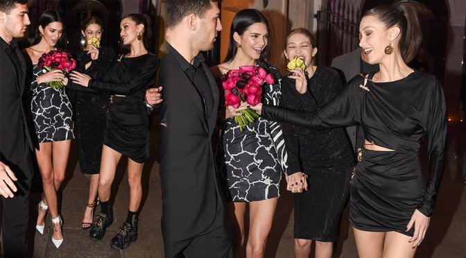 Kendall Jenner, Gigi & Bella Hadid – Leggy at the Versace dinner at Milan Fashion Week