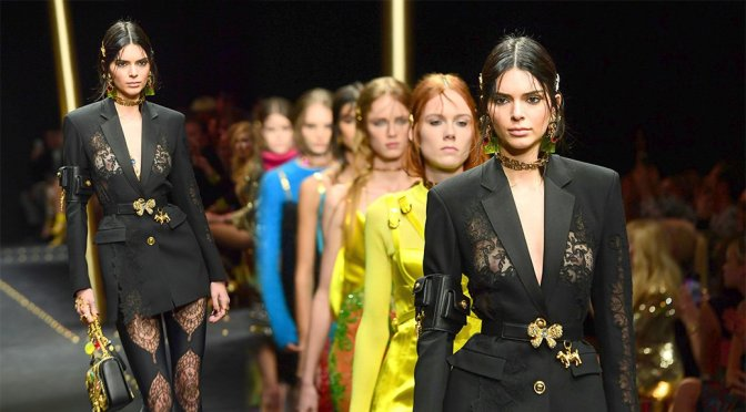 Kendall Jenner – Braless See-Through at Versace Fashion Show in Milan