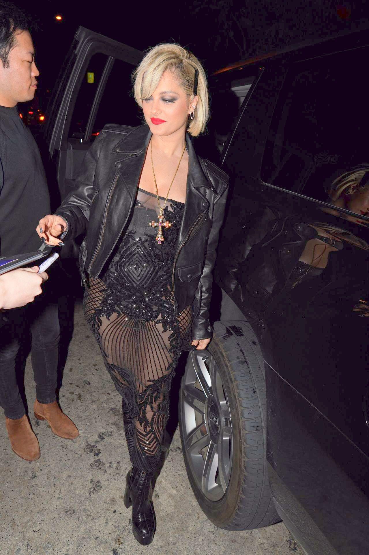 Bebe Rexha Sexy Sheer Dress