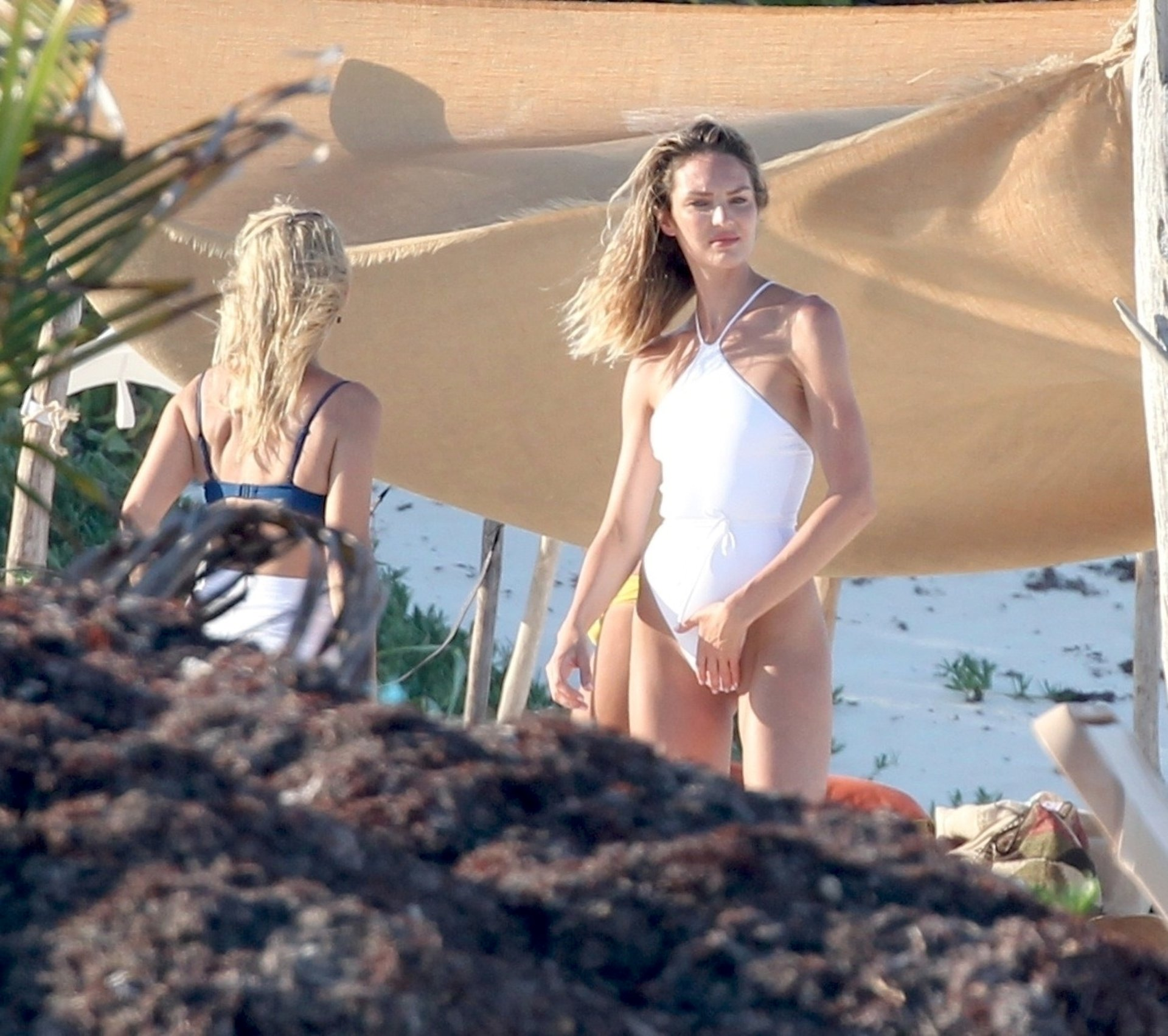 Candice Swanepoel White Swimsuit