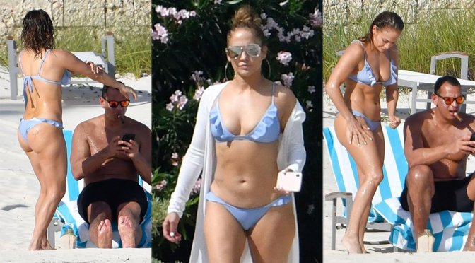 Jennifer Lopez in a Bikini at a Beach in The Bahamas
