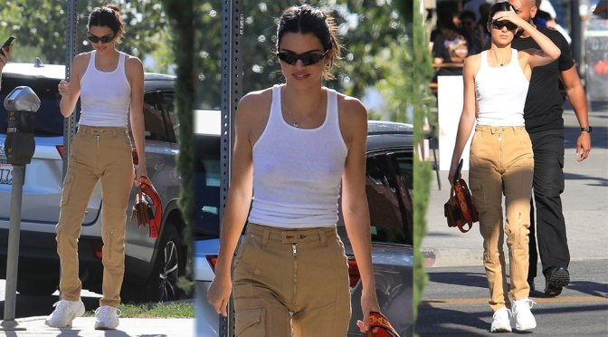 Kendall Jenner – Braless See-Through Candids in West Hollywood