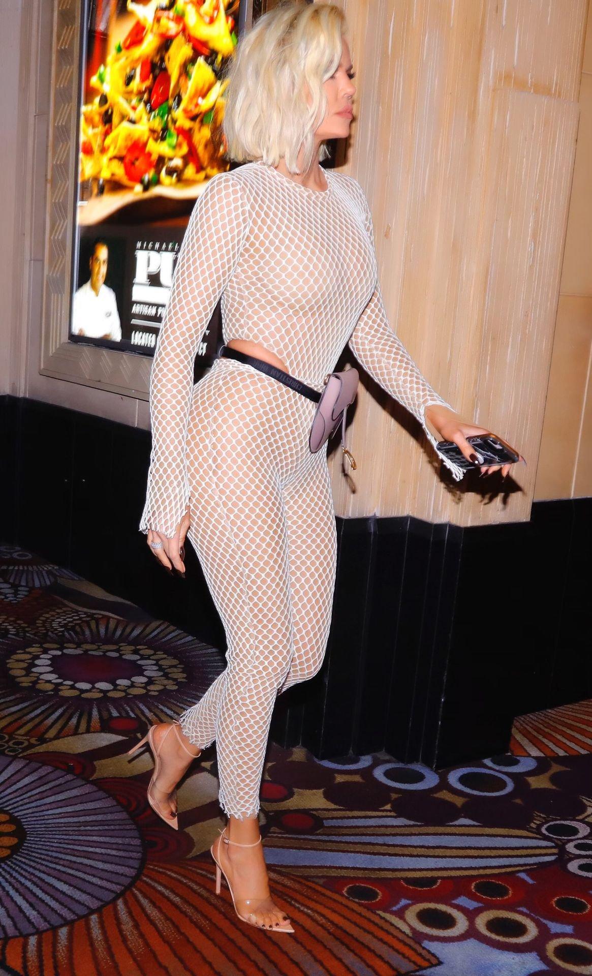 Khloe Kardashian Hot Sheer Outfit