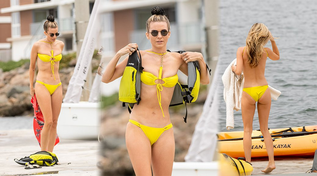 Rachel McCord - Tiny Yellow Bikini Candids in Marina Del Rey
