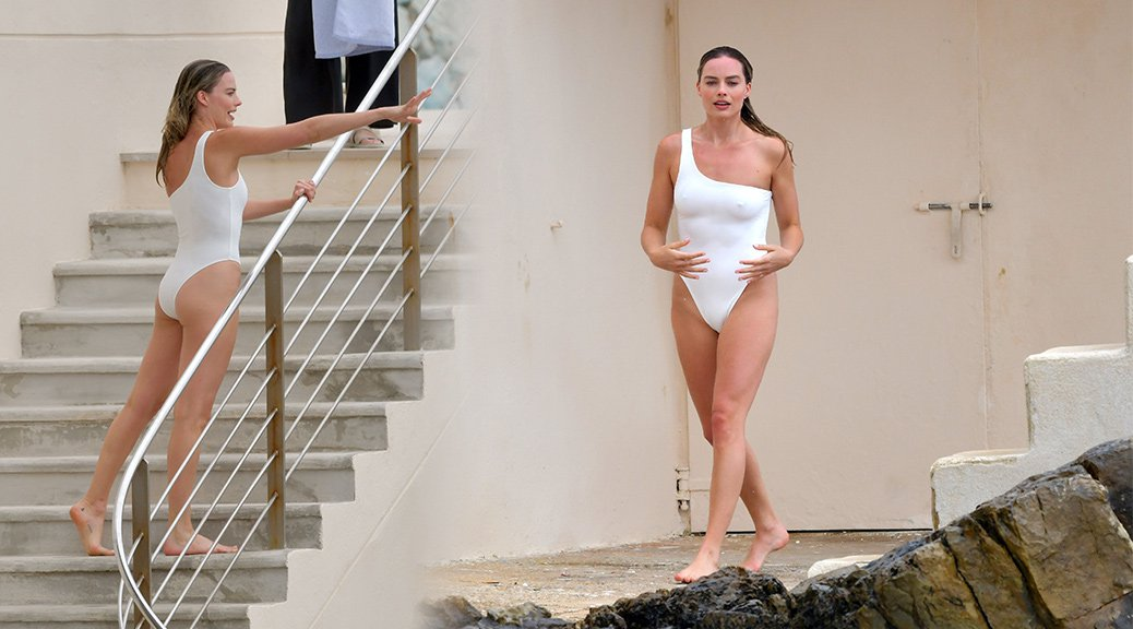 Margot Robbie - Swimsuit Candids at Hotel du Cap-Eden-Roc in Antibes