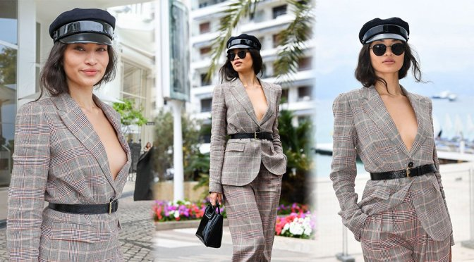 Shanina Shaik – Braless Cleavage at Hotel Martinez in Cannes