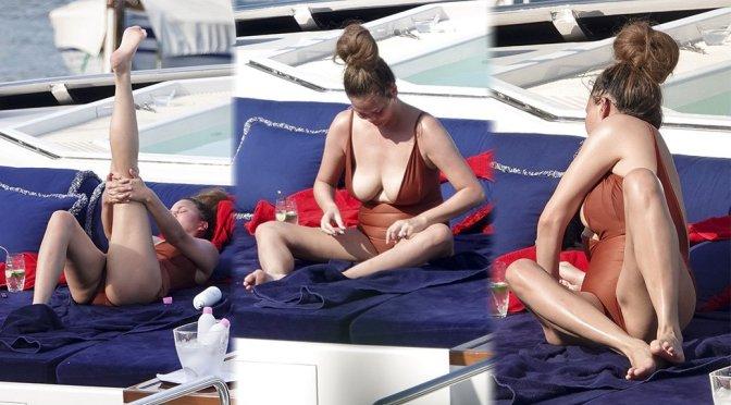 Chrissy Teigen – Swimsuit Candids in Portofino