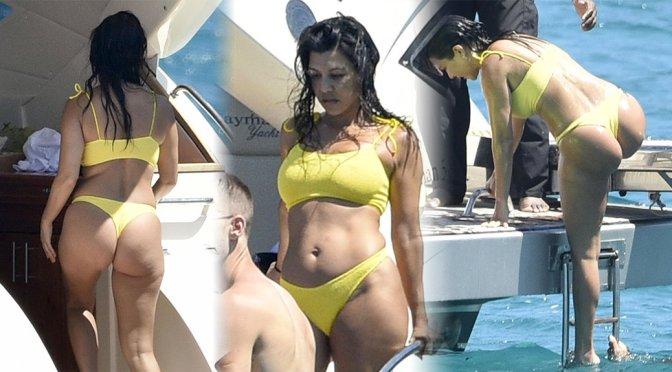 Kourtney Kardashian – Thong Bikini Candids on a Yacht in Corsica