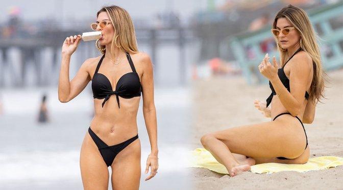 Rachel McCord in Black Thong Bikini at the Beach in Santa Monica