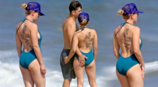 Scarlett Johansson – Swimsuit Candids in Hamptons