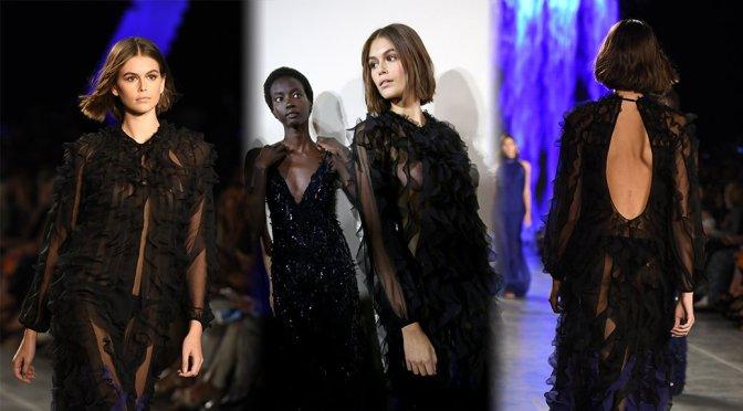 Kaia Gerber – Braless Nipples at Alberta Ferretti Fashion Show in Milan