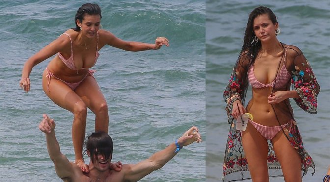 Nina Dobrev – Bikini Candids at a Beach in Maui
