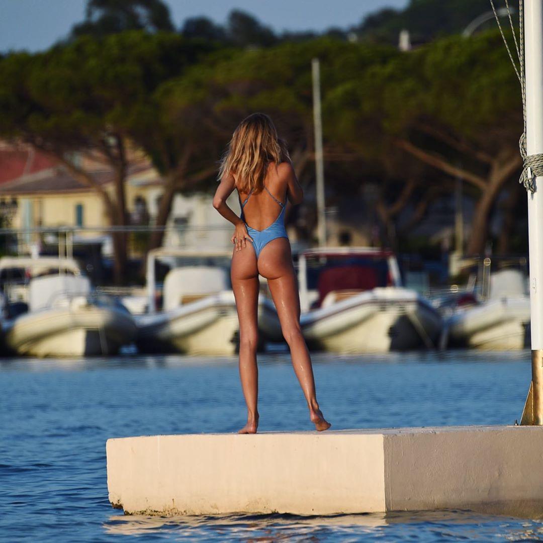 Kimberley Garner Blue Swimsuit