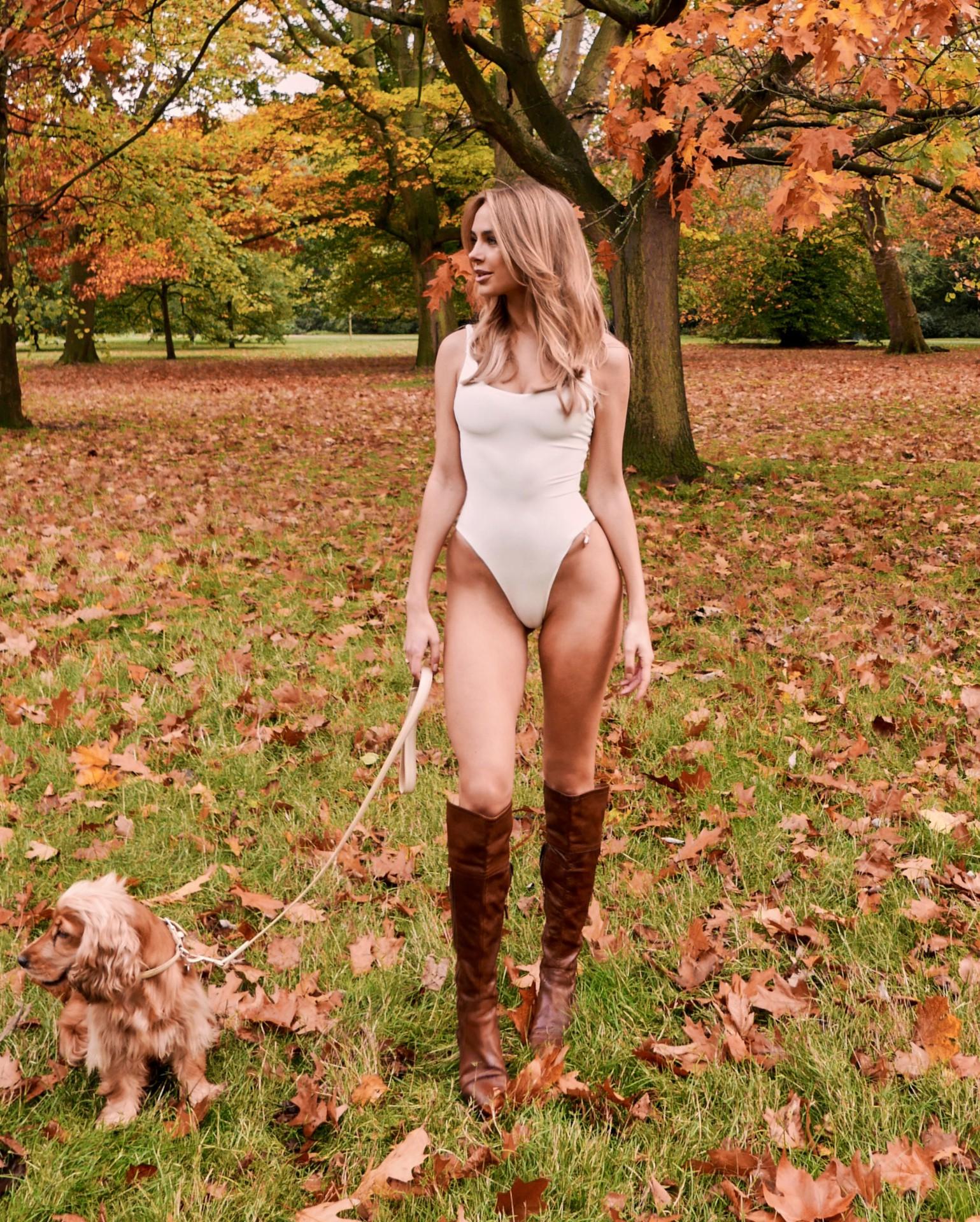 Kimberley Garner White Swimsuit In Park