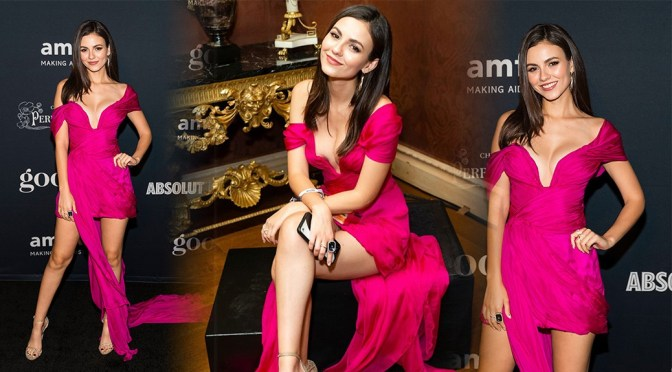 Victoria Justice – Sexy Pink Panties Upskirt at amfAR Charity Poker Tournament And Game Night in San Francisco