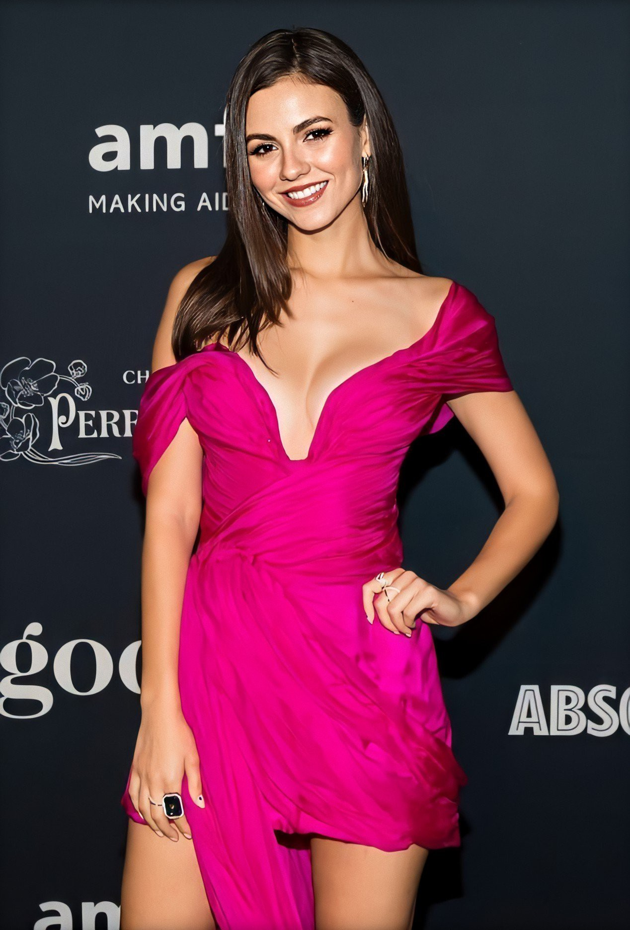 Victoria Justice Sexy Pink Dress