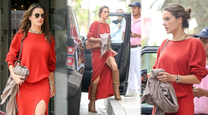 Alessandra Ambrosio – Sexy Legs in Red Skirt Out in Santa Monica