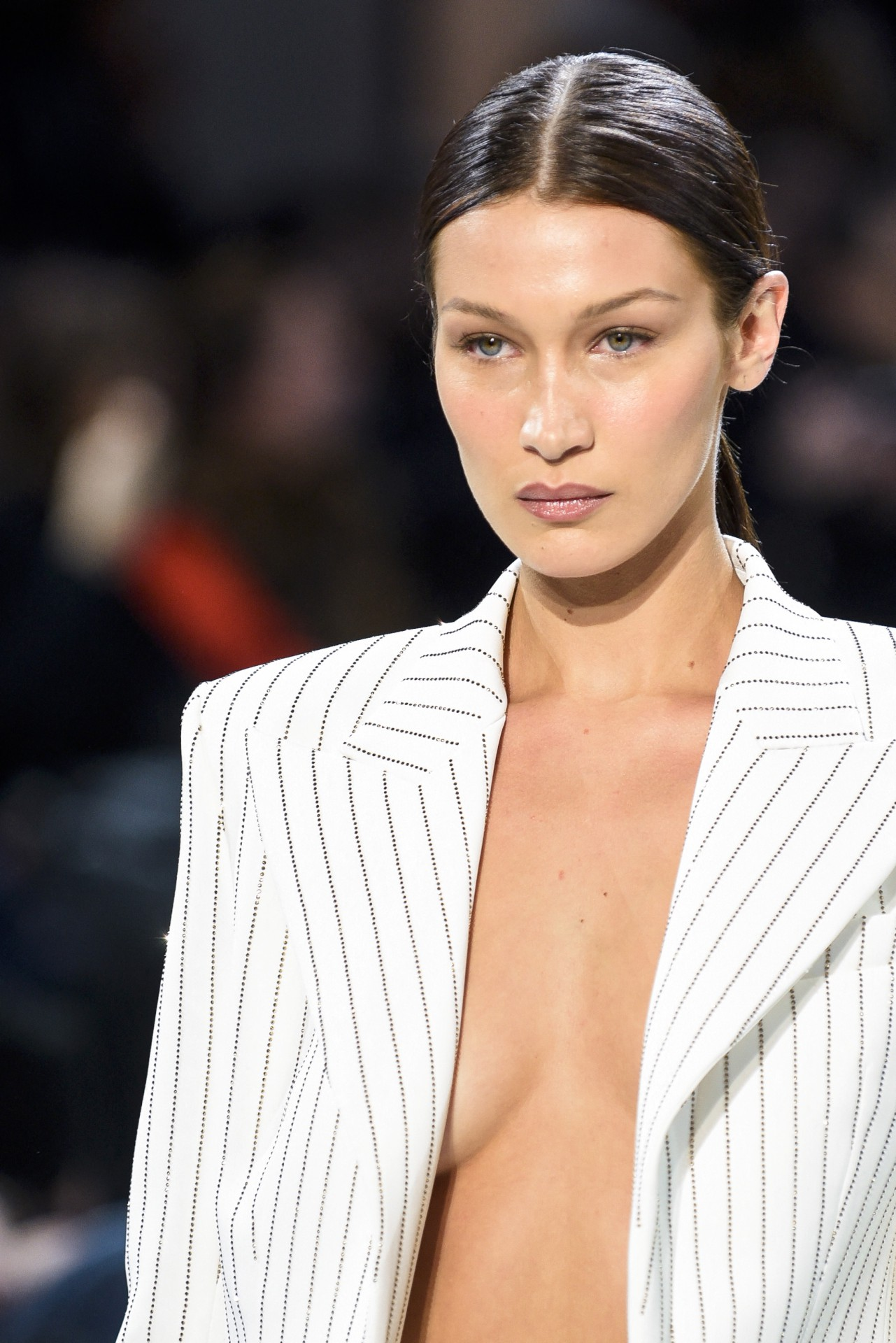Bella Hadid Sexy Braless Cleavage