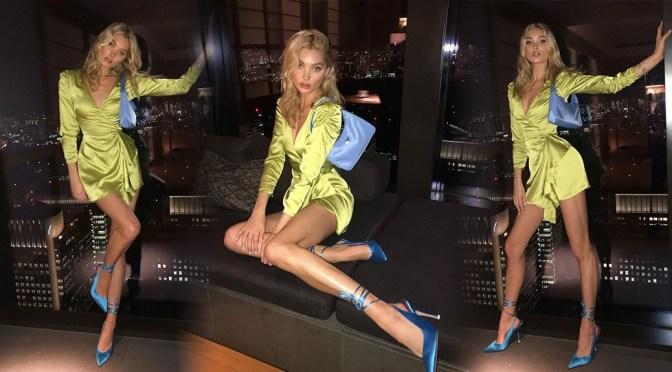 Elsa Hosk – Sexy Legs in a Short Yellow Dress