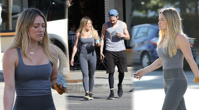 Hilary Duff – Sexy Pokies and Big Bobs in Tight Outfit Out in Studio City