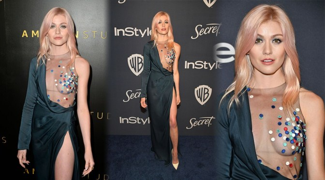 Katherine McNamara – Sexy Braless Breasts at Golden Globe After Party in Beverly Hills