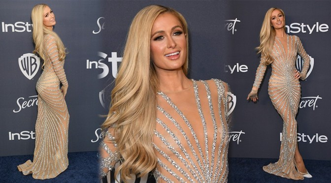 Paris Hilton – Sexy See-Through Dress at Golden Globe Awards Party in Beverly Hills