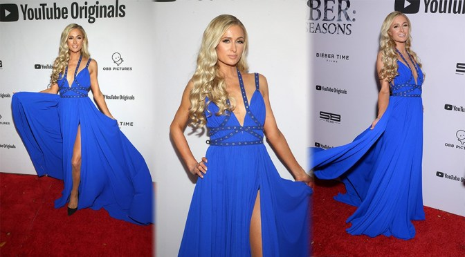 Paris Hilton Sexy Legs In Blue Dress