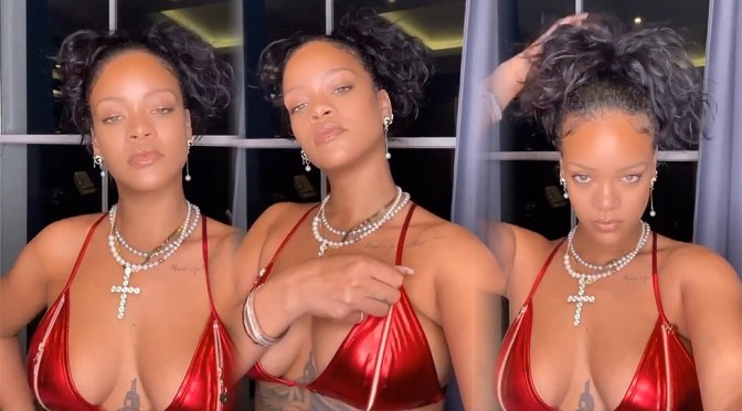 Rihanna – Sexy Boobs in Red Bikini Top Video