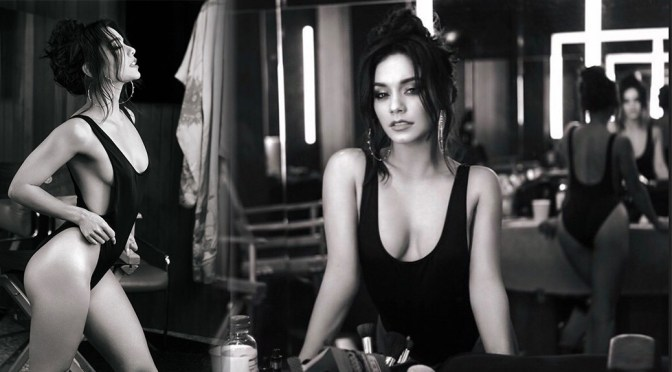Vanessa Hudgens – Sexy in Black Swimsuit on the Music Video Set