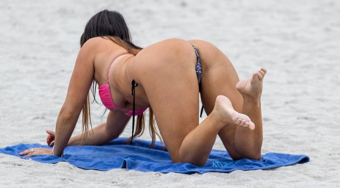 Claudia Romani – Hot Body in a Tiny Thong Bikini at the Beach in Miami Beach