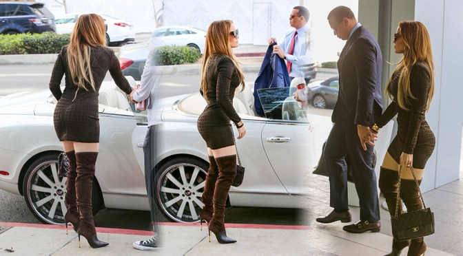 Jennifer Lopez – Sexy Ass in Tight Dress Out in Beverly Hills