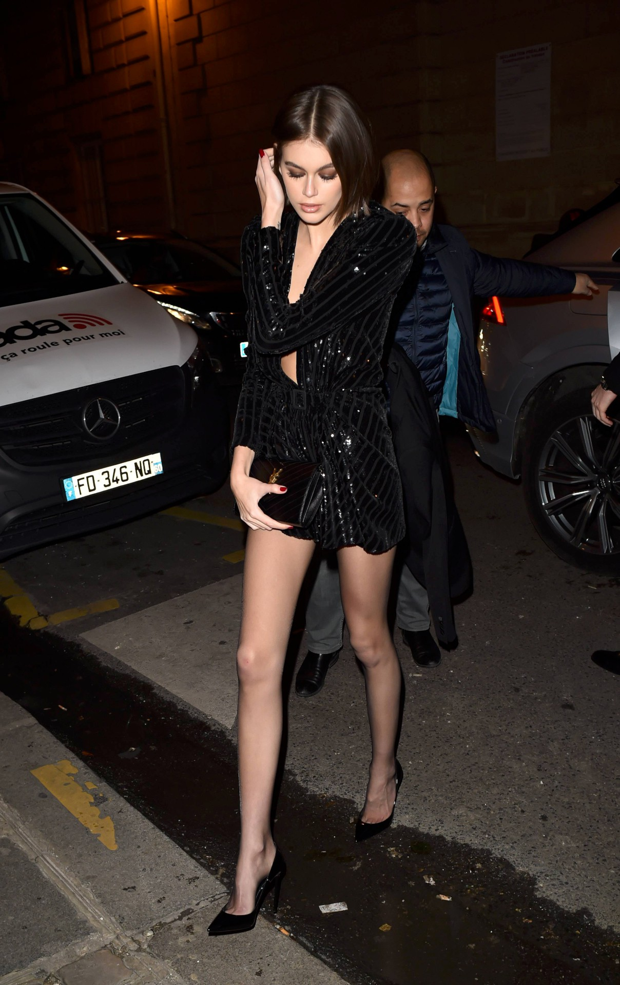 Kaia Gerber Sexy Legs And Braless Boobs