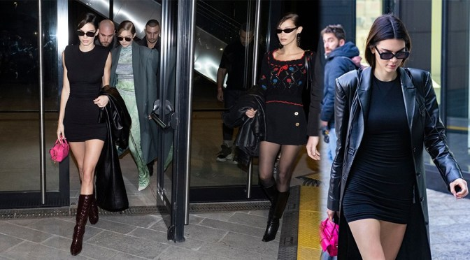 Kendall Jenner – Hot Body in Sexy Little Black Dress Out in Milan