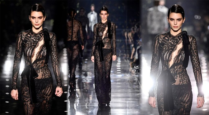Kendall Jenner – Braless in Black Sheer Dress at Tom Ford AW20 Fashion Show in Hollywood