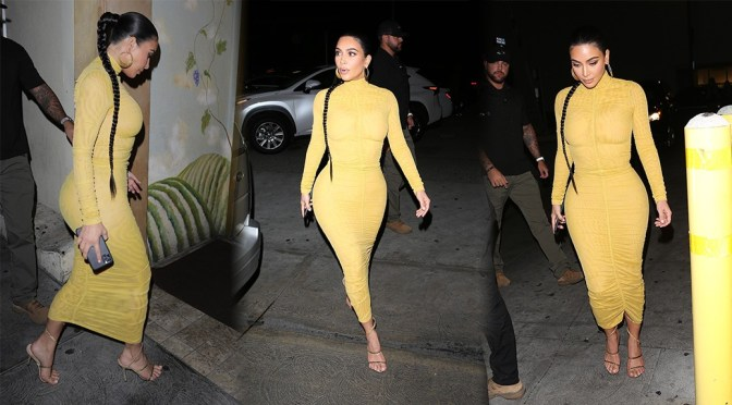 Kim Kardashian – Sexy Curves in Tight Yellow Dress at Carousel Restaurant in Glendale