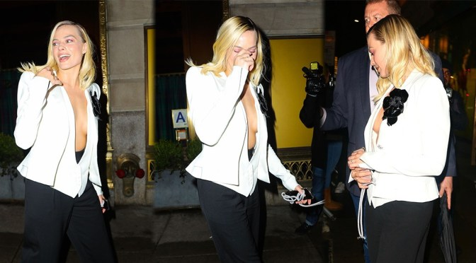 Margot Robbie – Sexy Braless Cleavage at Polo Bar in New York