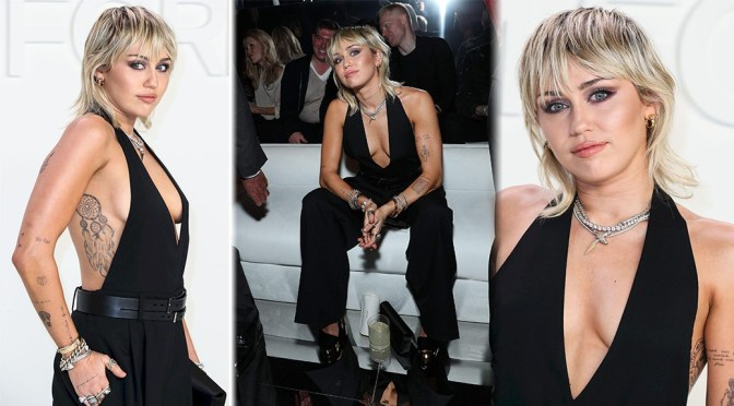 Miley Cyrus – Braless Sexy Boobs at Tom Ford Fashion Show in Los Angeles