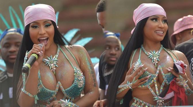 Nicki Minaj – Hot Big Boobs in SKimpy Bra at Mardi Gras Carnival in Port Of Spain