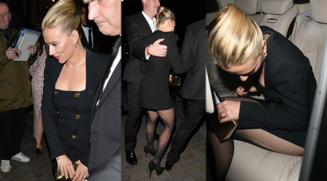 Scarlett Johansson – Sexy Legs in Black Stockings at Netflix BAFTA After Party in London