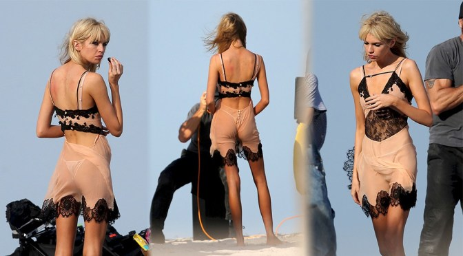Stella Maxwell – Sexy Ass in Tiny Thong Panties at Photoshoot in Miami