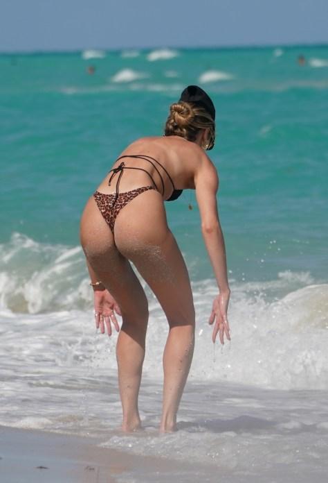 Supermodel Candice Swanepoel At The Beach in Thong Bikini