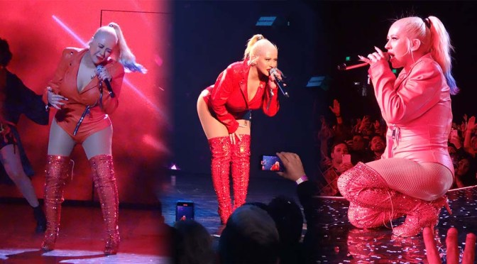 Christina Aguilera – Sexy Body in Hot Red Outfit on Stage in Las Vegas