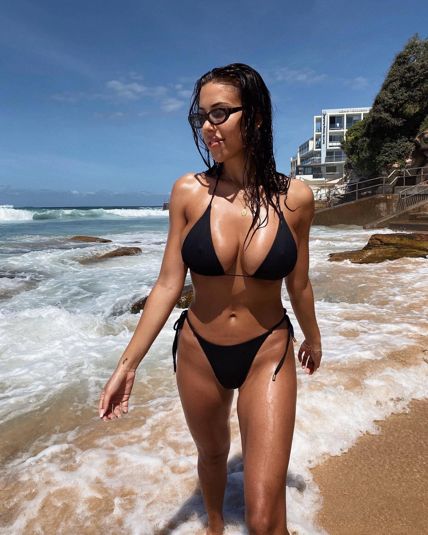 Devin Brugman Big Boobs In Sexy Black Bikini