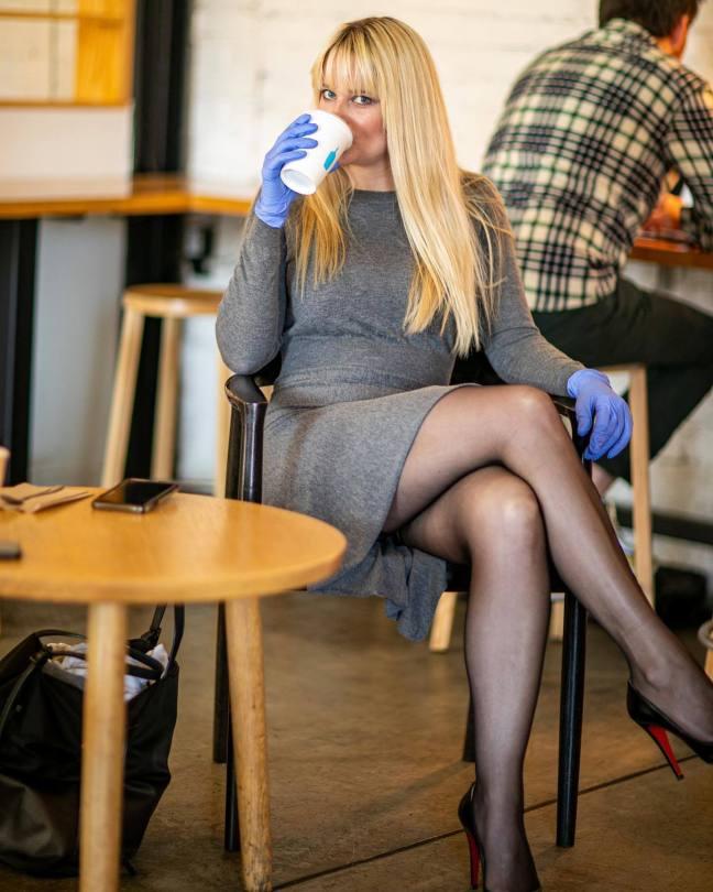 Genevieve Morton Hot Legs In Black Stockings