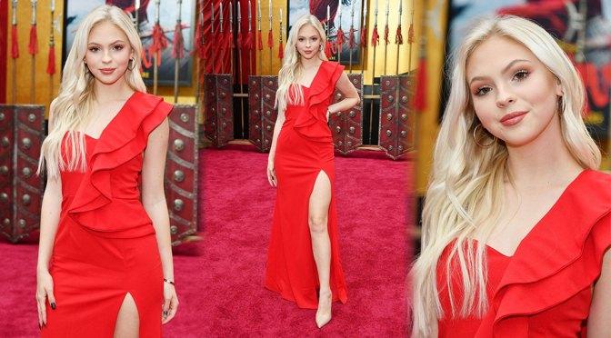 "Jordyn Jones – Sexy Legs in Hot Red Dress at Disney's ""Mulan"" Premiere in Hollywood"