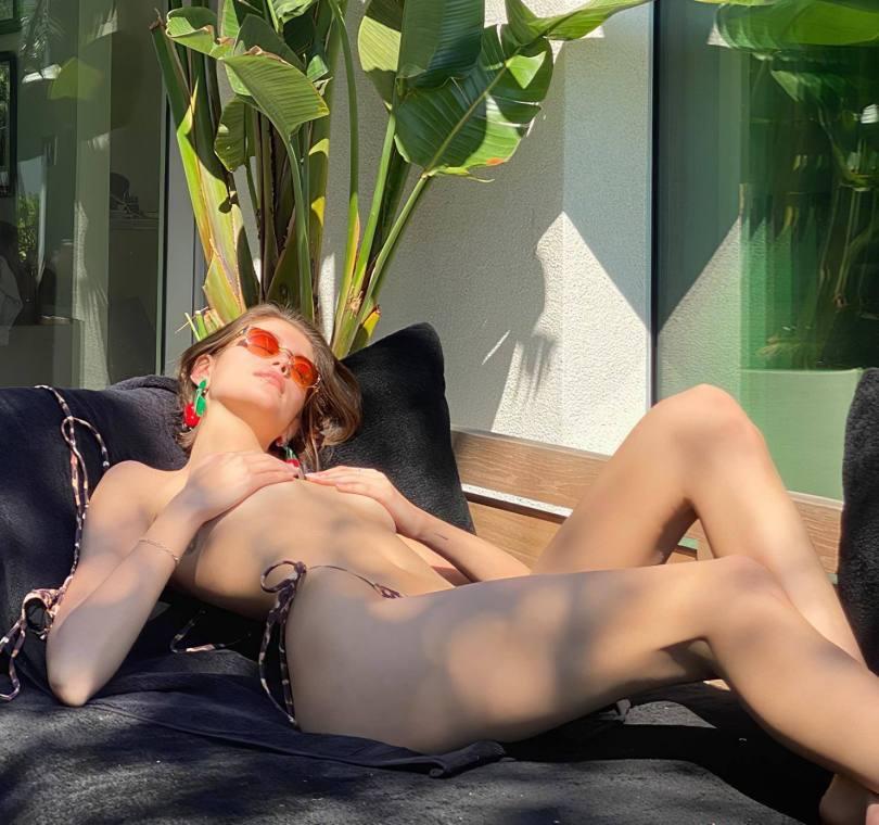 Kaia Gerber Sunbathing Topless